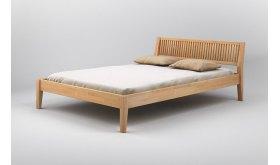Drewniane łóżko z wezgłowiem Grafit
