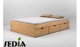 Łóżko drewniane z pojemnikiem na pościel Turkus