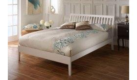 Białe łóżko z drewna bukowego Tilia