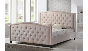 Łóżko z pikowanym wezgłowiem Ivo