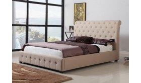 Łóżko z oparciem pikowanym Walter