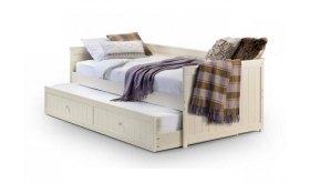 Białe łóżko z oparciem Almond