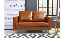 Sofa 2 osobowa w brązowej ekoskórze Iza