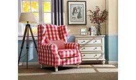 Fotel w czerwoną kratę Boden
