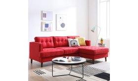 Czerwony nowoczesny narożnik z pikowanym siedziskiem Fiord