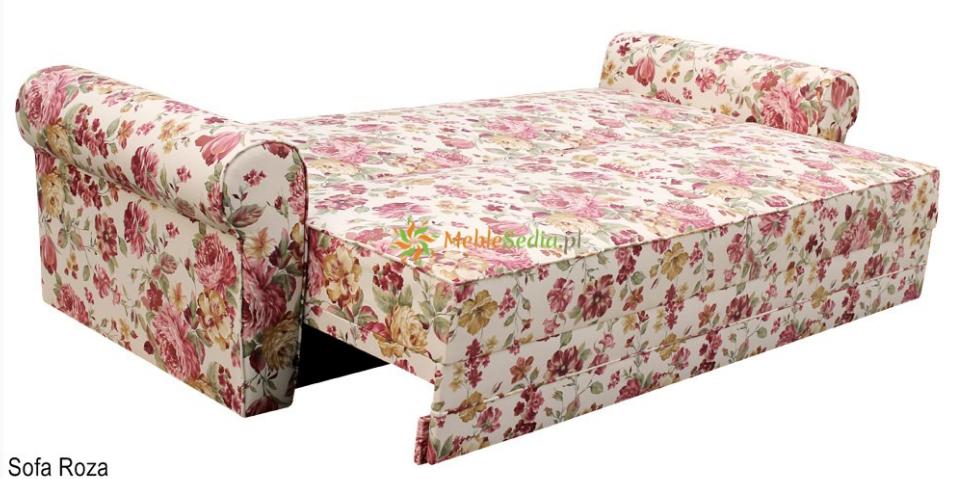 Sofa roza w kwiaty