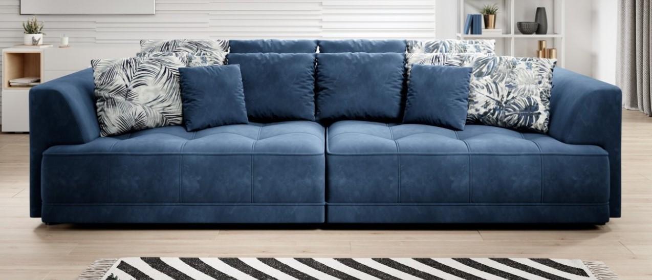niebieska sofa nierozkładana