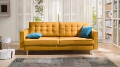 żółta sofa skandynawska